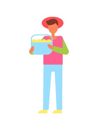 Man holding full basket of fruit in hand vector icon. Standing farmer in hat, with harvest, working on farm sample, in cartoon style isolated badge