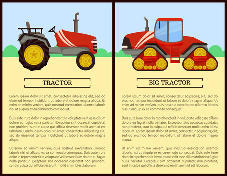 Tractor agriculture machines and vehicles used in farming. Field with bushes and machinery harvesting on land. Husbandry equipments mechanisms vector