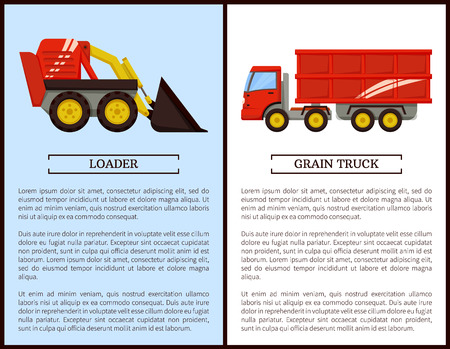 Agricultural machinery set cartoon vector banner. Small compact loader and grain truck with trailer, isolated new equipment, farming technique poster Foto de archivo - 126096732