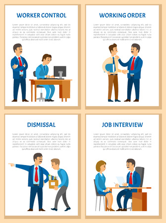 Working order, control and supervision at workplace, dismissal and job interview posters set. Boss giving instructions to employee, conversation between colleagues