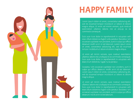 Happy family parents and kids poster with text sample in block. Woman holding husband by hand vector. Spouse with children having fun isolated people