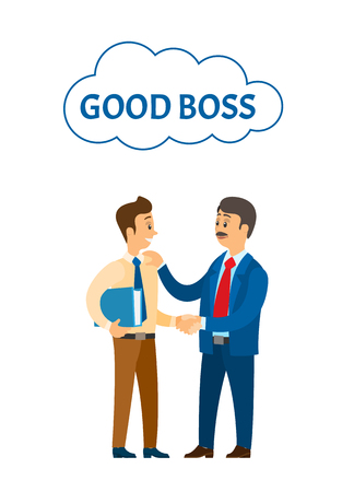 Good boss praising worker at job, company leader vector. Chief executive businessman talking to colleague, shaking hands and encouraging words to colleague