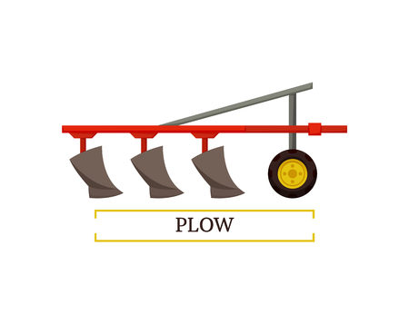 Plow plowing machinery poster with text and device for soil cultivation. Plough agricultural vehicle machine for farming usage isolated icon vector