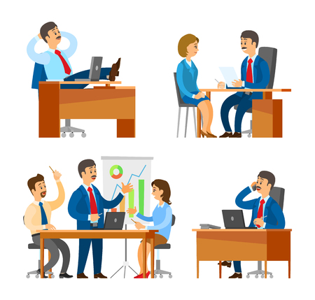 Boss, chief executive on seminar with people staff vector. Workers solving business problems, planning statistics analyzing charts. Interviewing cv Foto de archivo - 126096744