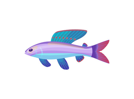Fish of purple color with dorsal fin and gills. Marine creature living in sea waters. Limbless animal floating underwater, fauna vector illustration