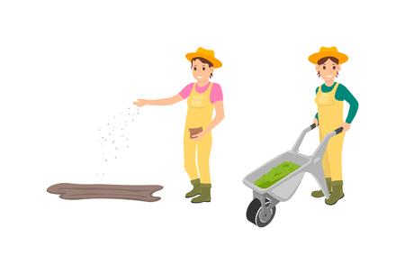 Travail agricole d'agriculteurs d'icônes isolées. Femme semant des graines à partir d'un sac et d'une agricultrice poussant un chariot avec du compost pour la fertilisation du sol vecteur