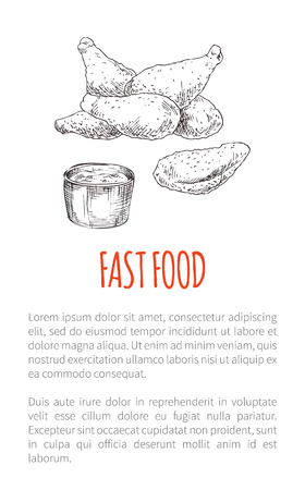 Fast food fried chicken poster an text sample. Drumsticks and sauce in bowl. Crispy snack meat lunch poultry wings monochrome sketch outline vector
