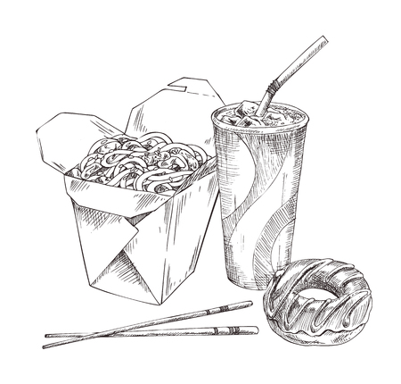 Noodles asian food served with chopsticks. Monochrome sketches outline with soft drink in cup and straw, chocolate donut isolated on vector illustration  イラスト・ベクター素材