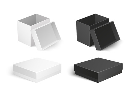 Cardboard boxes made of carton material, small container for products storage and transportation. Icons of square shape and flat top packaging vector