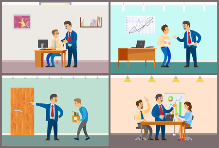 Boss and employee interaction, office work routine. Good or bad job, clerk dismissal and business meeting at conference room vector illustrations.
