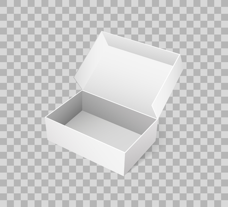 Open box for shoes storage. Empty container made of carton, pack for goods delivery, blank packaging parcel of rectangular shape vector on transparent Ilustração