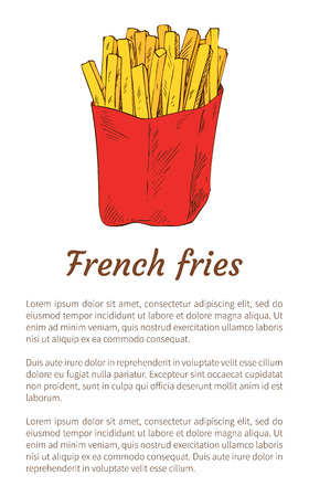French fries isolated on white backdrop banner, vector illustration of roasted potato packed into red pocket, fried golden sticks stack, text sample Illustration