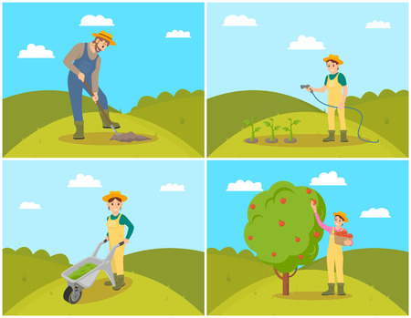 Farmer with basket and apples fruits in wicker pannier. Harvesting woman and fruits gathering. Compost trolley, fertilizing of farmlands, set vector Ilustração Vetorial