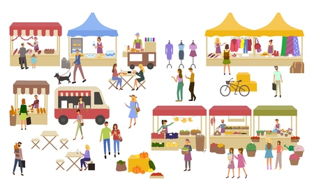 Marché, étals de vendeurs et commerçants
