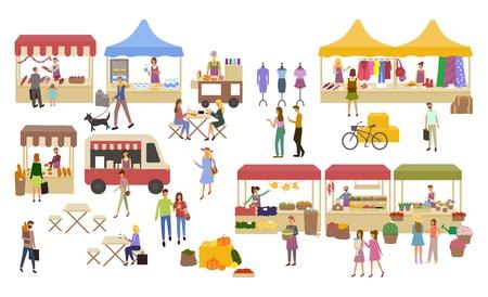 Marktplaats, kraampjes met verkopers en winkelend publiek