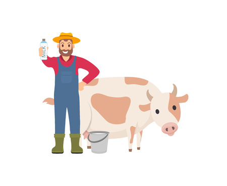 Farmer holding milk package isolated icon vector. Milkman with container fresh packet product. Man standing by cow and bucket, farming and breeding