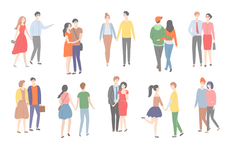 Couples of men and women in love walking together vector. People having good time, hugging and cuddling, strolling females and males holding hands