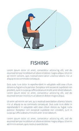 Fishing leisure activity vector poster. Angling hobby flyer with sitting on chair fishman in gilet with rod or spinning and waiting for fish raise. Vectores
