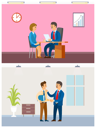 Job interview and working task, office routine. Boss and employees, hiring worker and paperwork arrangement, company interior vector illustrations.