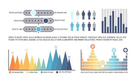 Infographics with statistics numerical data vector. Schemes and diagrams, human icons population analysis in visual representation. Charts flow charts