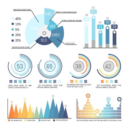 Diagrama circular con partes y vector de datos estadísticos actuales. Infografías e infografías con información numérica, diagrama de flujo, diferentes colores distintivos.