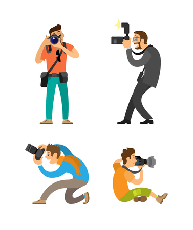 Photographing people set, photographer and paparazzi, modern cameras with flash. Man taking photos, journalist in glasses wearing suit vector illustrations.