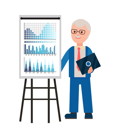 Presentation of old professor with laptop gadget vector. Man explaining charts, diagrams on whiteboard seminar. Workshops of experienced businessman