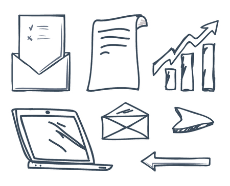 Office laptop and increasing raising arrow isolated icons set vector. Envelope and message, screen of gadget, cursor and sheet of paper with info