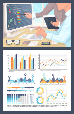 Infographics and pie diagrams, people working on research vector. Tables with numeric data, visualization of report, statistics planning strategy