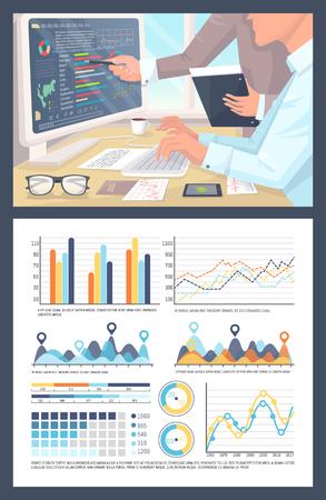 Infographies et diagrammes circulaires, personnes travaillant sur le vecteur de recherche. Tableaux avec données numériques, visualisation du rapport, stratégie de planification des statistiques