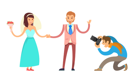 Photo session of engagement ceremony. Bride and groom and professional photographer vector isolated. Happy couple on wedding, wife with bouquet and groom Çizim