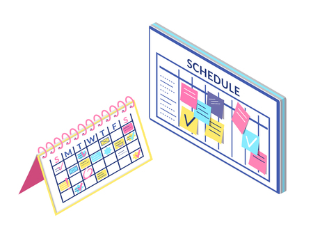 Schedule Board and Calendar Information Isolated  イラスト・ベクター素材