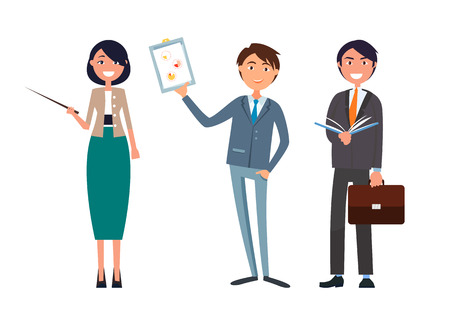 Man holding business plan and woman with pointer in hands vector. Director showing analysis of work, director planning strategy. Managers meeting
