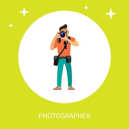 Photographer with digital camera taking photo. Man making picture, carrying case on belt and bag of spare lenses cartoon vector isolated in circle