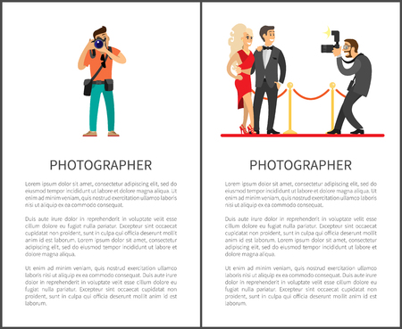 Paparazzi taking photo of celebrities couple on red carpet. Movie stars or singers and photographer with digital camera vector posters with text sample 版權商用圖片 - 126099110