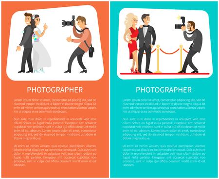 Fotógrafo de bodas y carteles de paparazzi con texto. Novia junto al novio, pareja de celebridades, linterna con zoom para ilustraciones vectoriales de cámara.