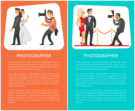 Wedding photographer and paparazzi posters with text. Bride next to groom, celebrities couple, flashlight with zoom for camera vector illustrations.