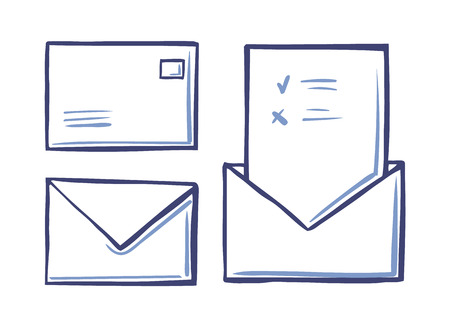 Envelope closed letter back and front view, voting page with approved and rejected icons sketch vector isolated. Mail message postal correspondence