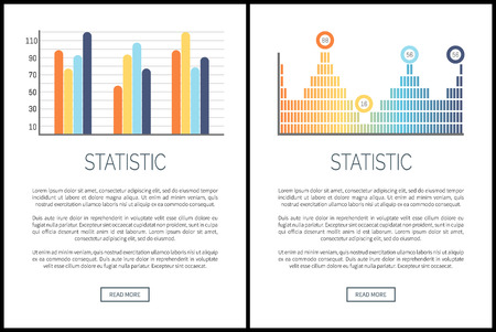 Statistics infocharts and infographics web pages set vector. Graphs with explanatory text sample, numeric data information on figures results schemes