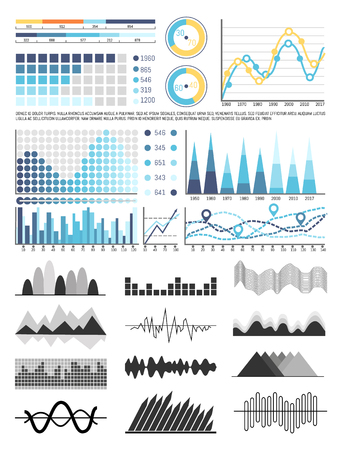 Graphics and Flowcharts, Schemes and Charts Set Ilustrace