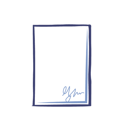 Empty Sheet Paper Signature Office Page Isolated