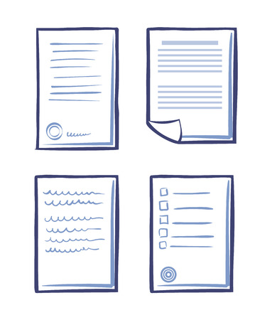Set of Office Papers Isolated Icon Signed Contract Ilustração