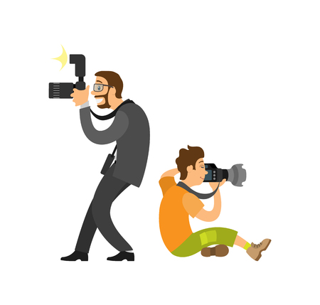 Freelancer taking photo from both sides, journalist in glasses wearing suit vector illustrations. Photographer and paparazzi, modern cameras with flash gear Illustration