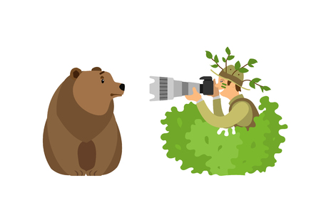 Wild animal photographer shooting grizzly bear from bush with camera through big zoom lens. Forest mammal and man taking picture vector illustration.