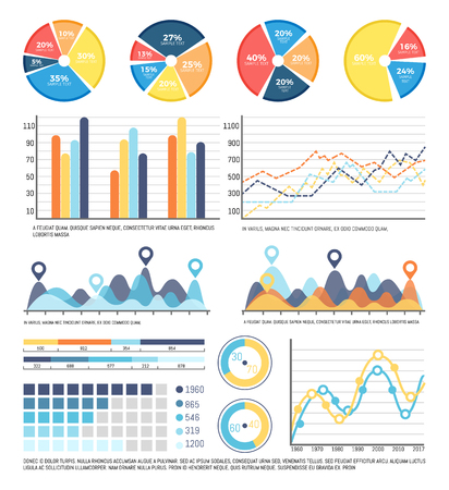 Infographics report on data received in research vector. Business information organized in flowcharts and infographs. Presentation of pie diagrams Stock Illustratie