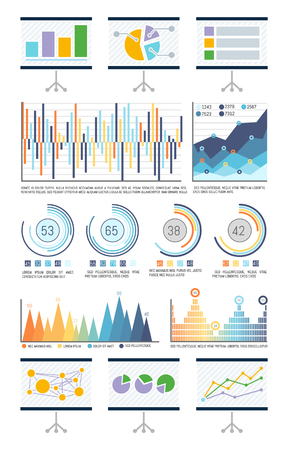 Statistics in visual form, charts and flowcharts vector. Presentation whiteboard with schemes, analyzed data infographics. Pie diagram with segments