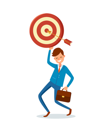 Arrow achieved target, vector happy businessman with briefcase reached goal. Happy executive worker in suit made perfect shot, gained dreamed and planned