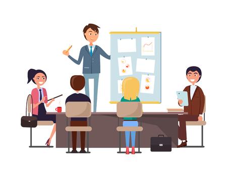 Seminario de negocios y trabajadores escuchando vector de jefe. Director ejecutivo dando presentación a los empleados. Hombre enseñando a la gente, plan de estrategia de analista