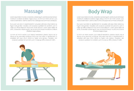 Massage and body wrap procedures done by professional masseur and client lying on table and relaxing vector with text. Beauty salon services for people