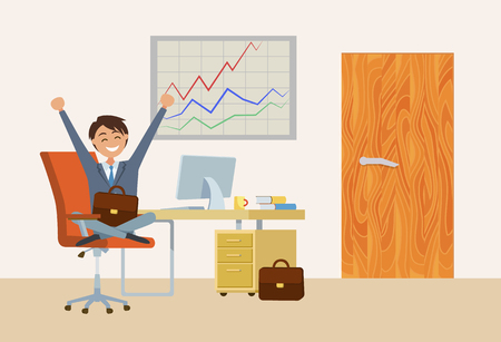 Businessman sitting by desk in office workplace vector. Man wearing suit working in business field. Director chief with briefcase, boss of company